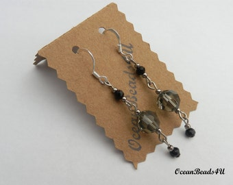 Grey Swarovsky Crystals and Czeck Beads Earrings