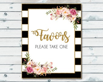 Favors Sign Printable, Bridal Shower Floral Favors Sign, Wedding Favor Sign, Baby Shower Sign, Bridal Shower Table Sign, Please Take One