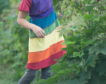Rainbow dress, girls rainbow dress, upcycled dress, upcycled girls dress, size 2, size 3