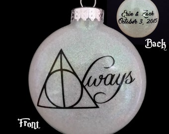 """CUSTOMIZED Harry Potter Ornament: """"Always""""  Great Valentine's Day, wedding & anniversary gift! Free shipping. Personalized ornament"""