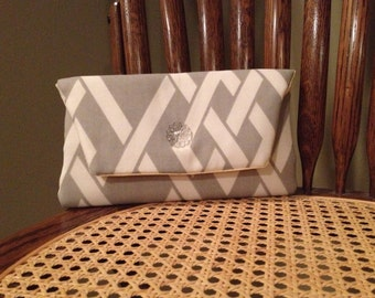 Grey and White Bridesmaid Clutch