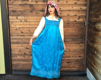 Vintage Satin Electric Blue Smocked Maxi Dress