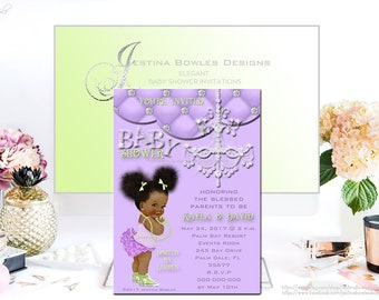 Baby Shower Invitation, African American Baby Girl Invitation, Personalized Baby Invitation, Diamond, Chandelier,purple, pink St031 and 031a