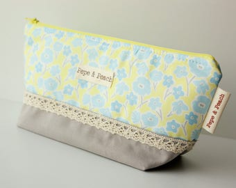 Soft Yellow Blue Flowers and Grey Linen with Lace Large Makeup Pouch, Gifts for Her, Soft Pastel Palette, Two Toned Toiletry Storage Bag