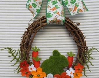 Easter Wreath, Spring Wreath, Bunny Wreath, Rabbit Wreath, Carrot Wreath, Woodland Bunny Wreath, Felt Flower Wreath, Grapevine Wreath