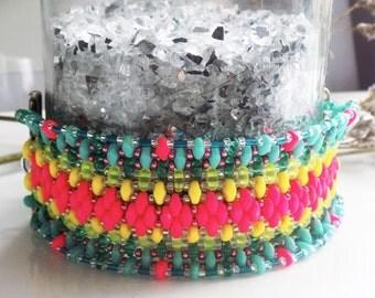 Beaded Cuff, Neon Cuff, Neon Jewelry, Tribal Bead Cuff, Tribal Jewelry, Bohemian Cuff Tribal Jewelry, Bohemian Jewelry, Boho Bracelet