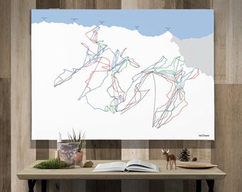 Val D'Isere Canvas Piste Map Art A1 or A2