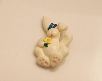 Easter Bunny Brooch Marked Cynd