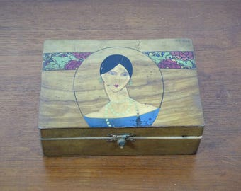 Small Art deco - Art Deco wooden box little box wood