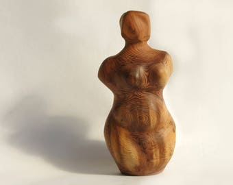Fertility goddess, Feminine Wood sculpture, Sacred mother wood carving, natural wood, Venus, Art Sculpture, Primitive.