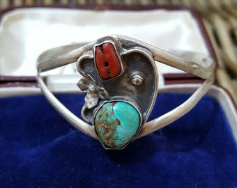 Vintage 925 solid silver cuff bangle,turquoise & red coral gemstones, small fit
