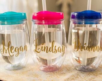 Personalized Wine Glass - Travel Wine Glass - Stemless Wine Glass - Bridesmaid Wine Glass - Bridal Party Gifts - Bachelorette - Wine Tumbler