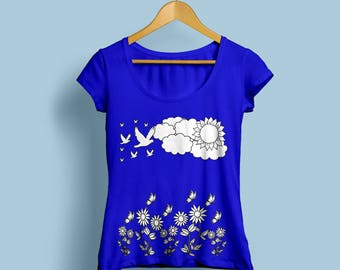 Spring Tshirts, Spring Iron On, Spring Transfer Image, A4 Digital Spring Print For T-shrits And Pillows, Nature T-shirt