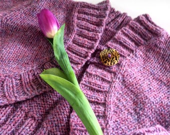 Cropped hand knit cardigan