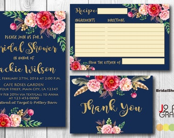 Golden Floral Bridal Shower Invitation Printable, Floral Wedding Shower Invitations Printable, Flower Party Invites, Recipe, Thank You Card