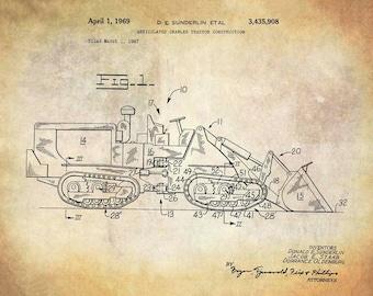 Articulated Crawler Tractor Construction Patent Art Print - Caterpillar Construction Equipment Patent Art Print - Heavy Equipment Patent Art