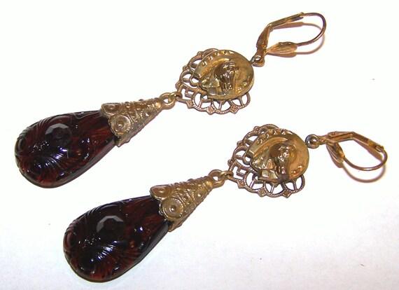 Beautiful Czech Deco vintage 1940s Art Deco topaz glass horse dropper  earrings