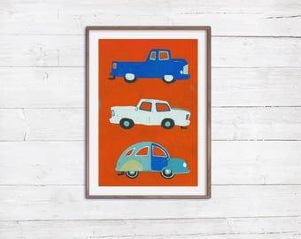 3 blaue Autos - A2 Poster