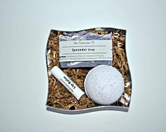 Lavender Gift Set, Lavender Soap, Lavender Bath Bomb, Lip Balm