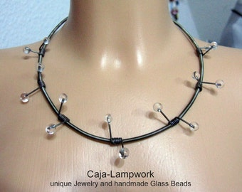 Barbed wire necklace, lace encased with glass, lampwork, shrill, extraordinary