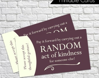 Printable Random Act of Kindness Cards, RAOK, Pay It Forward, DIY Printable, Calling Cards, Random Acts - Purple