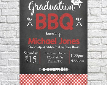 Graduation Open House Invitation, Graduation BBQ, Graduation Barbecue Invitation, Graduation Announcement, Class of 2017, Open House BBQ