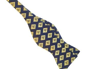 Masonic Navy Blue Gold Diamond Compass Self-tie Bow Tie  M6