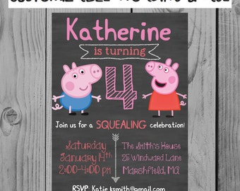 Custom Peppa Pig Birthday Invitation Peppa Pig Party Girl Birthday Peppa Pig Birthday Personalized Peppa Pig Invitation