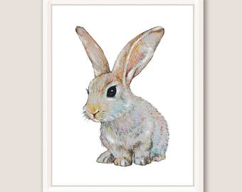 Bunny Art Print Baby Animal Watercolor Painting Nursery Printable Art Rabbit Art Rabbit Print Pet Farm Animal Print Digital Instant Download