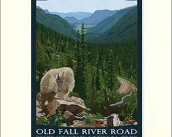 RMNP Old Fall River Road Matted Giclée Art Print: Colorado Series, The Bungalow Craft by Julie Leidel, WPA-Style Poster Art