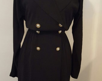 Vintage MS CHAUS LBD Double Breasted Black Dress