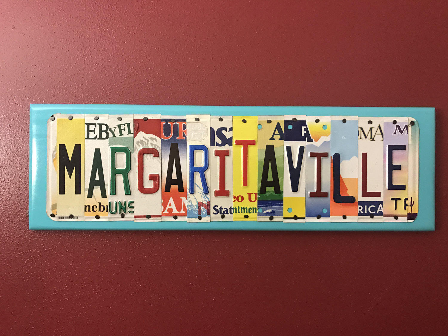 MARGARITAVILLE sign made from recycled license plates beach house vacation home florida Key west graduation gift & MARGARITAVILLE sign made from recycled license plates beach house ...