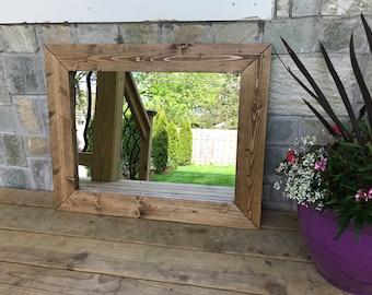 Decorative Mirrors, Hallway Wood Frame Mirror, Entryway Rustic Mirror, Bathroom  Mirror, Wall