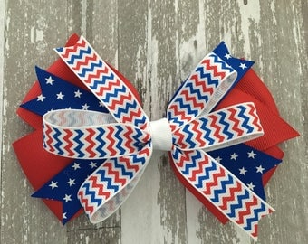 Fourth of July Hair Bow July 4th Hair Bow July 4th Bow Patriotic HAir Bow Red White Blue Hair Bow Patriotic Chevron Bow Patriotic Polka Dot