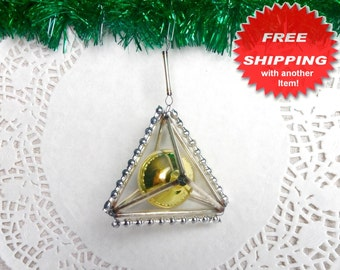 Vintage Christmas Ornament / Glass Beads / Glass Ornament / Bugle Beads Antique Mercury Glass Silver Gold / Triangle Rare Soviet Xmas 1940s