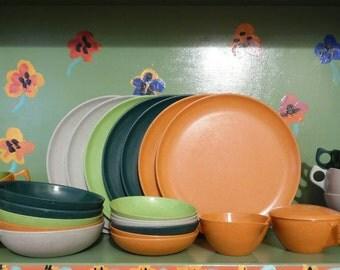 34 Piece Set Branchell Plastic Melmac Melamine Plates Bowls Tea Cups Saucers Camping Picnic Mid Century Modern Retro Vintage Kitchen