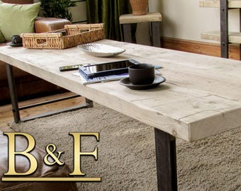 Large chunky reclaimed timber coffee table/sideboard/TV unit with chunky steel legs