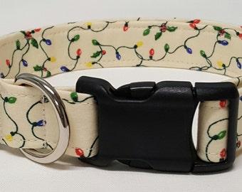dog collar, christmas lights, christmas, christmas dog collar, christmas collar, holiday dog collar, holiday collar, xmas dog collar, xmas