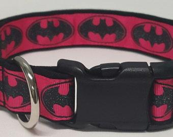 dog collar, pink glitter batman, pink batman, pink batman dog collar, pink batman collar, batman collar, batman logo, super her0