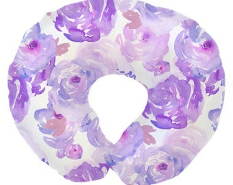 Purple Petal Party  | Floral, Watercolor, Purple, Lilac, Blush, Flowers Baby Girl Nursing Pillow Cover
