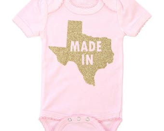 Made In Texas | Pink BodySuit with Gold Glitter