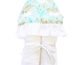 Charming Unicorn Hooded Towel | Aqua, Blush, White, Unicorn, Gold, Pink Ruffled Baby Girl Hooded Towel