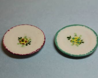 Dollhouse Miniature Pair of Handmade Porcelain Plates for Display or Table (1/12 Scale)