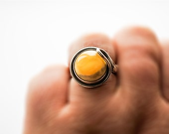 Vintage Silver Baltic Amber Ring 6g
