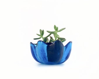 Vintage Blenko Glass Blue Bowl - Flower Petal Bowl - Lotus Bowl - 8 Petal Blenko Glass - Mid Century Modern Glass