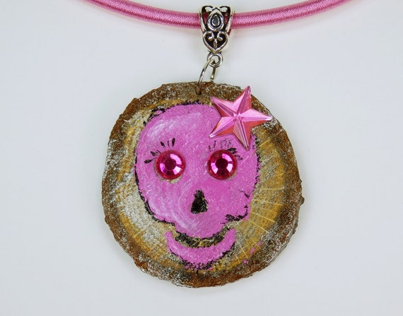 Necklace skull in pink hand painted motif on oak wood on pink silk ribbon pink jewelry wood skull star and glitter eyes skulls