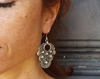 Silver Tribal Earrings, Ottoman Earrings, Gypsy Silver Earrings, Ethnic Earrings, Large Earrings, Ornate Earrings, Bohemian Earrings