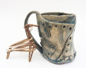 Primitive Patched Mug, Rustic Textured Hobbit Cup, 14 oz, Tea Mug, Coffee Mug,  Brutalist Pottery Slate Blue