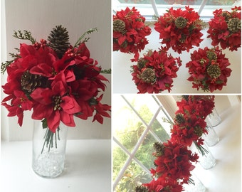 Wedding Bouquets/Centerpieces Christmas Red and Green with Pine Cones