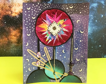 "ART! ""Spaced Out Dreamcatcher"" (lisa frank, space, planet, stars, crescent moon, dreamcatcher, jewel)"